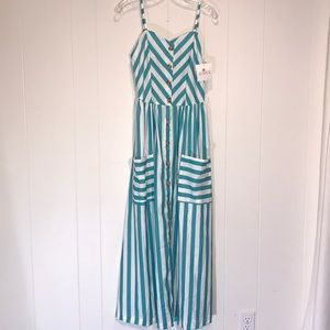 Zaful Stripe Sundress In Teal & White.🐚🐚🐚NWT
